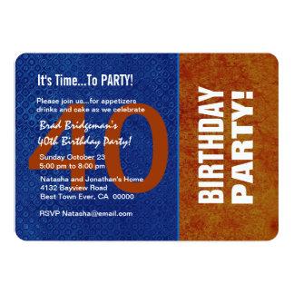 Azul do aniversário de 40 anos e oxidação modernos convite 12.7 x 17.78cm