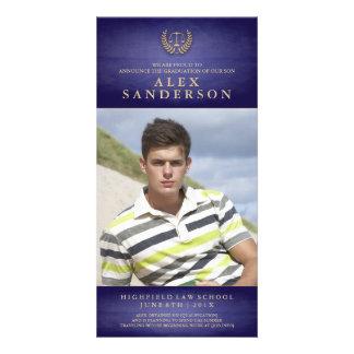 Azul do anúncio | da foto da graduação da escola cartão com foto