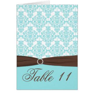 Azul do Aqua, Brown, cartão branco do número da