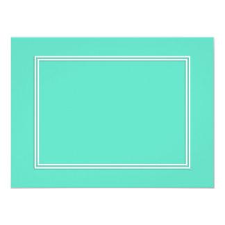 Azul do Aqua com sombra branca da beira Convite 16.51 X 22.22cm