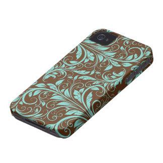 Azul do Aqua e cor damasco de Chocholate Brown Capas Para iPhone 4 Case-Mate