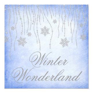 Azul do baile de formatura dos flocos de neve do convite quadrado 13.35 x 13.35cm