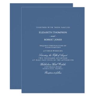 Azul do beira-rio com detalhe branco do casamento convite 13.97 x 19.05cm