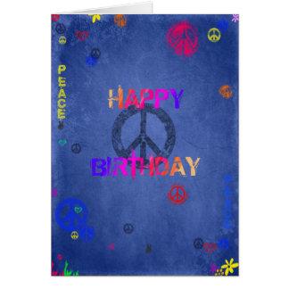 Azul do cartão de aniversário do hippy do Hippie