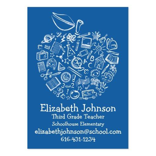 Azul do cartão de negócio de Apple dos professores Cartao De Visita