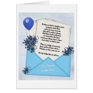 Azul do cartão de nota das memórias