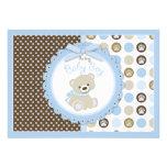 Azul do chá de fraldas do bebé do urso de ursinho convites