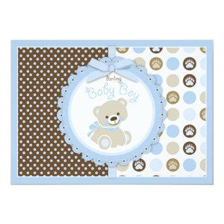 Azul do chá de fraldas do bebé do urso de ursinho convite 12.7 x 17.78cm