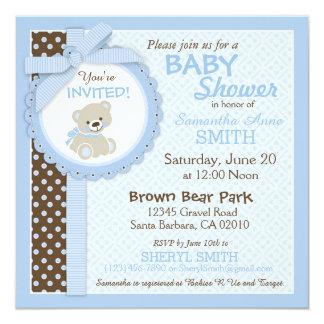 Azul do chá de fraldas do menino do urso de convite quadrado 13.35 x 13.35cm