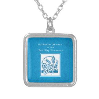 Azul do comunhão do neto primeiro, trigo, uvas colar banhado a prata