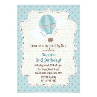 Azul do convite de aniversário do balão de ar