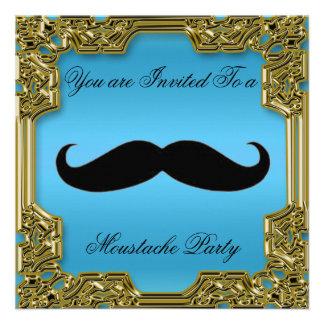 Azul do convite de aniversário do Moustache