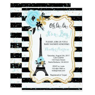 Azul do convite do chá de fraldas do tema de Paris