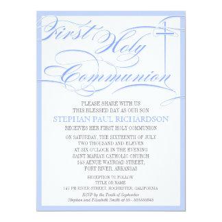 Azul do convite do comunhão do menino primeiro