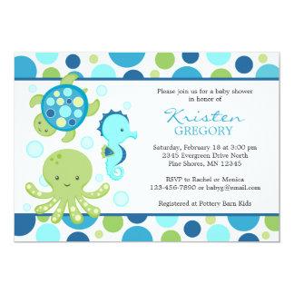 Azul do │ dos convites do chá de fraldas do mar