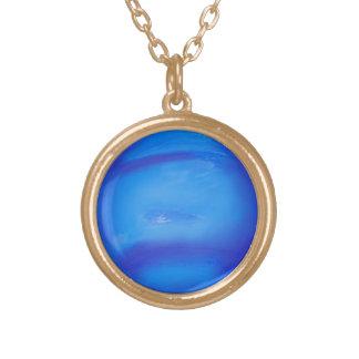 Azul do espaço da astronomia de Netuno Colar Banhado A Ouro