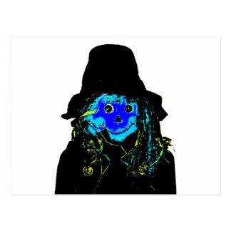 Azul do espantalho do Dia das Bruxas os presentes Cartões Postais