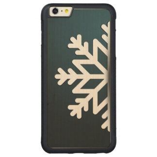Azul do floco de neve do Feliz Natal Capa Bumper Para iPhone 6 Plus De Carvalho, Carved