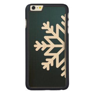 Azul do floco de neve do Feliz Natal Capa Para iPhone 6 Plus De Carvalho, Carved®
