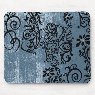 Azul do Grunge com videira preta Mousepad
