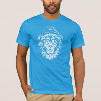Azul do leão do hipster camiseta
