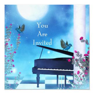 Azul do luar dos pássaros do piano do partido do convite quadrado 13.35 x 13.35cm