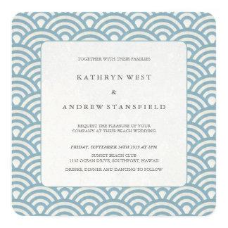 Azul do mar + Convite branco do casamento de praia