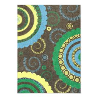 AZUL do MARROM 194__retro-circles-paper-pattern Convite Personalizado