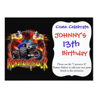 Azul do monster truck no fogo convite 12.7 x 17.78cm