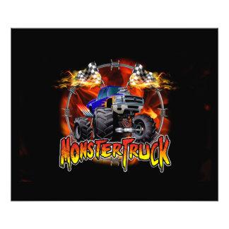 Azul do monster truck no fogo impressão de foto