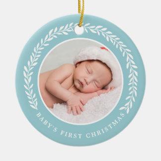 Azul do ornamento | da foto do Natal do bebê