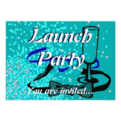 Azul do partido do lançamento da grande inauguraçã convite personalizados