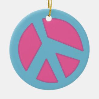 Azul do Sinal-Smiley da paz Enfeites Para Arvores De Natal