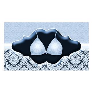 Azul do sutiã do damasco do cartão de visita da