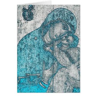 Azul do vintage do Jesus Cristo da Virgem Maria e Cartão Comemorativo