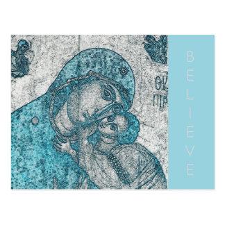Azul do vintage do Jesus Cristo da Virgem Maria e Cartão Postal