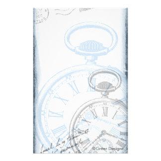 Azul do vintage do relógio de ponto do relógio de papelaria
