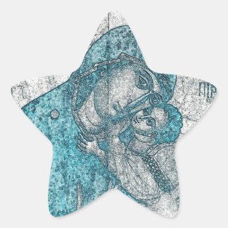 Azul do vintage do retrato do anjo de Jesus do Adesito Estrela