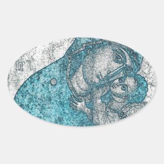 Azul do vintage do retrato do anjo de Jesus do Adesivo Oval