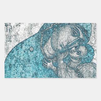 Azul do vintage do retrato do anjo de Jesus do Adesivo Retangular