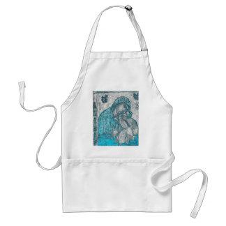 Azul do vintage do retrato do anjo de Jesus do Avental