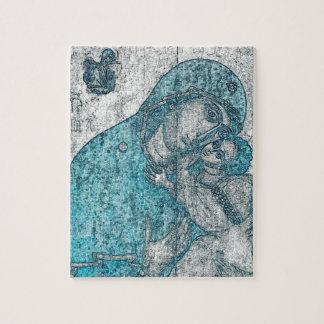 Azul do vintage do retrato do anjo de Jesus do Quebra-cabeça