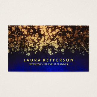 azul dos confetes da folha de ouro do vintage cartão de visitas