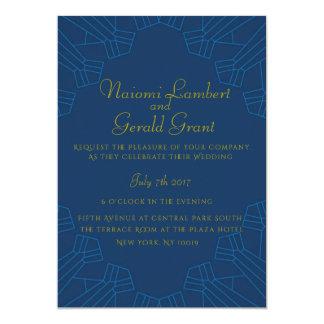 Azul dourado do convite do casamento da idade