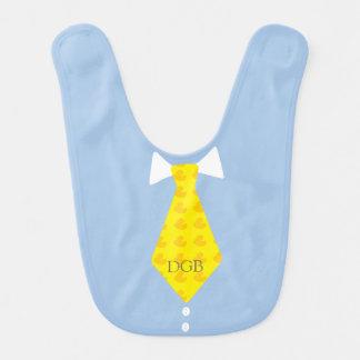 Azul Ducky de borracha personalizado da gravata Babador Infantil