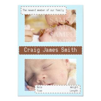 Azul e anúncio costurado marrom do bebê convite 12.7 x 17.78cm