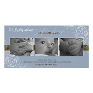 Azul e anúncio do bebê de Brown Cartões Com Fotos