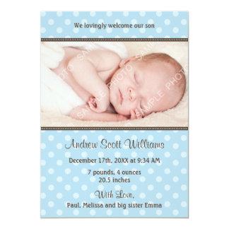 Azul e anúncio do nascimento da foto das bolinhas convites personalizado