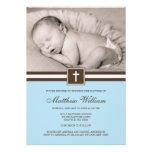Azul e baptismo transversal da foto do menino de B Convites Personalizado
