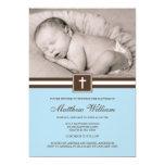 Azul e baptismo transversal da foto do menino de convites personalizado